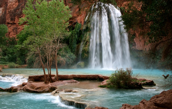 Картинка природа, водопад, Arizona, горная река, Grand Canyon, Havasupai Indian Reservation, Havasu Falls