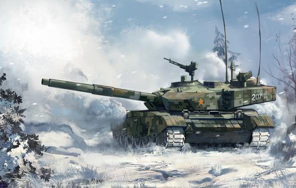 Картинка зима, лес, снег, рисунок, арт, танк, боевой, китайский, основной, Type 99, ZTZ-99