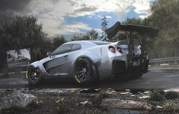 Обои Nissan Gt R Car Race Body R35 Track Spoiler