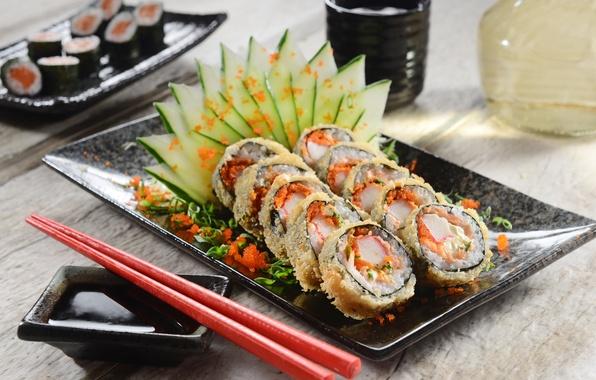 Картинка зелень, овощи, rolls, sushi, суши, роллы, японская кухня, greenery, decoration, оформление, vegetables, Japanese cuisine