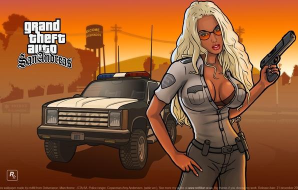 Картинка Девушка, Игра, Girl, Police, Wallpapers, GTA, Game, Обоя, Barbara, Grand Thef Auto:San Andreas, ГТА, Барбара, …