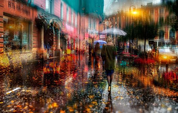 Картинка осень, девушка, город, люди, улица, зонты, Россия, Санк-Петербург