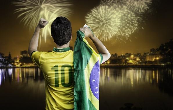 Картинка football, fireworks, flag, World Cup, Brasil, FIFA, 2014