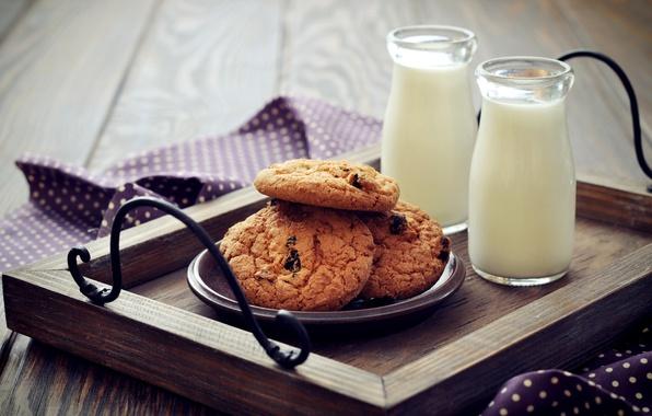 Картинка завтрак, молоко, печенье, бутылки, выпечка, поднос