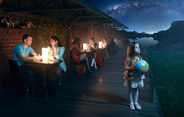 Картинка земля, планета, девочка, глобус