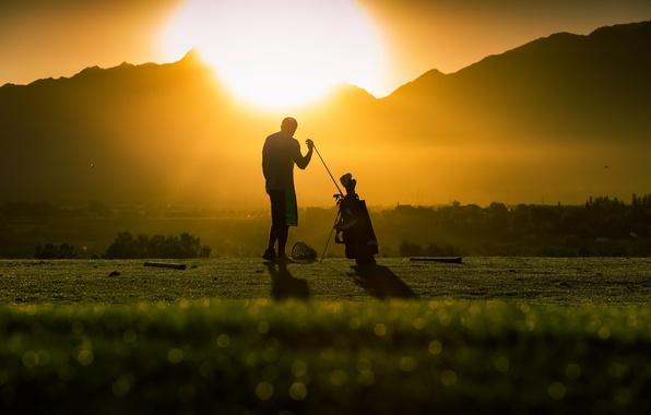 Картинка свет, закат, гольф