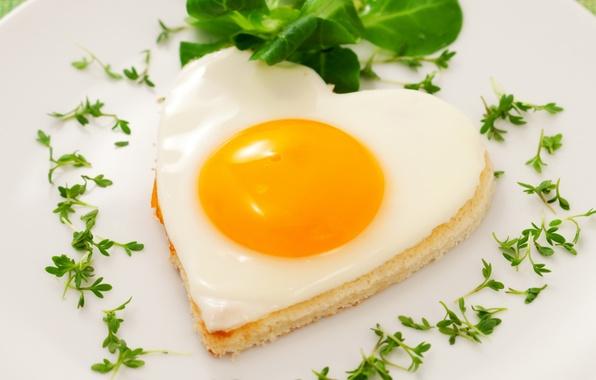 Картинка любовь, сердце, яйцо, еда, сердечки, яичница, желток, глазунья, белок, жареное
