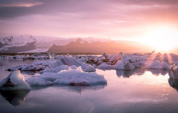 Картинка Nature, Sun, Water, View, Iceland, Glacier, Lagoon, Jokulsarlon
