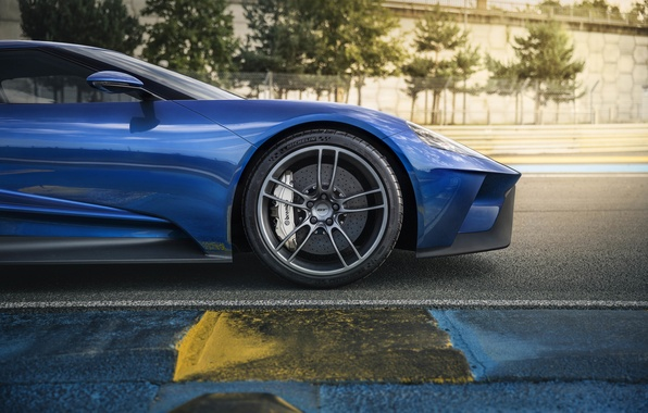Картинка car, авто, Ford, колесо, supercar, диски, форд, вид сбоку, blue, тормоза