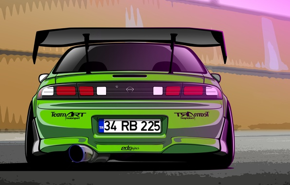 Картинка Silvia, Nissan, Green, S14, Drift Spec Vector, by Edcgraphic, 200SX