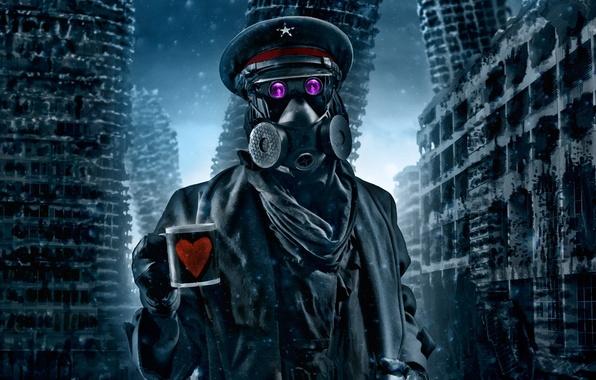 Картинка зима, снег, арт, кружка, противогаз, капитан, руины, сердечко, комикс, романтика апокалипсиса, romantically apocalyptic, alexiuss