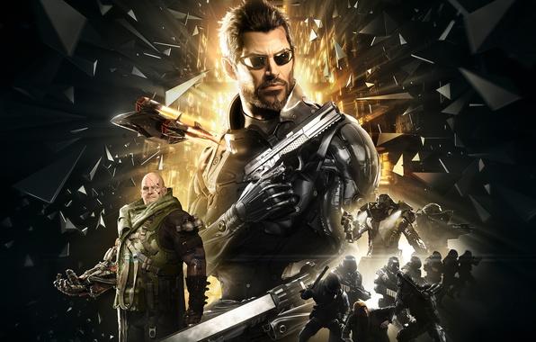 Картинка осколки, оружие, броня, киборг, Square Enix, Адам Дженсен, Adam Jensen, враги, cyborg, Deus Ex: Mankind …