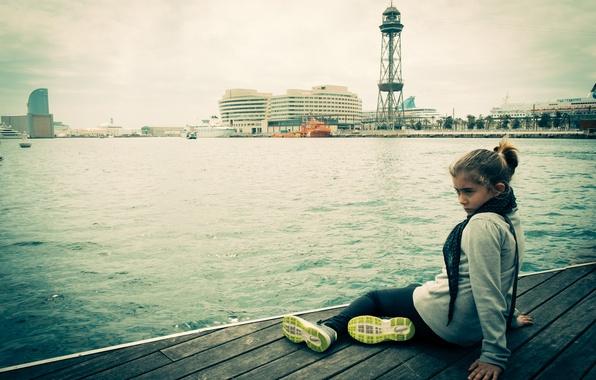 Картинка причал, девочка, Барселона