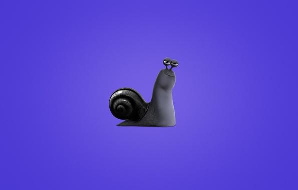 Картинка улитка, минимализм, Turbo, фиолетовый фон, Турбо, snail