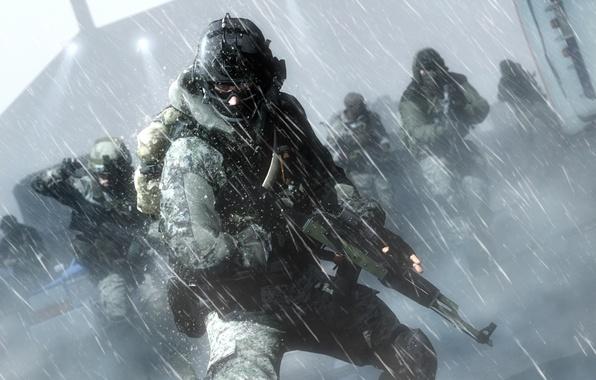 Картинка soldier, snow, cold, assault rifle, Battlefield 4, equipment