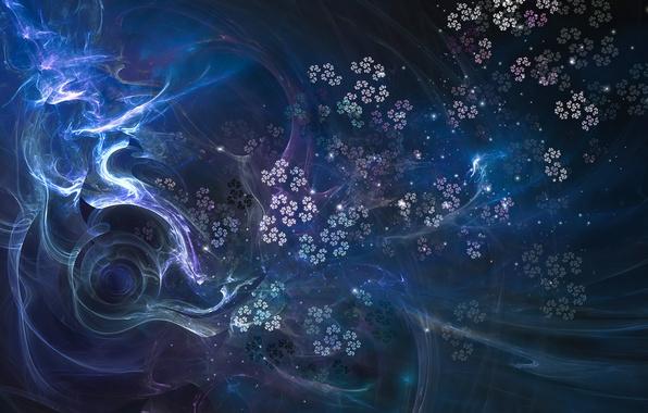 Картинка цветы, фракталы, свечение, изгибы, переплетения, фрактальный узор