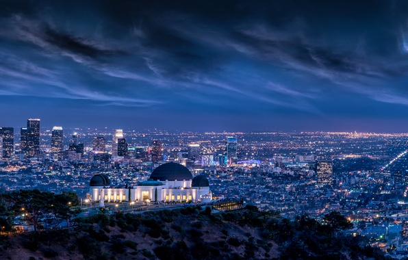 Картинка Clouds, Sky, Lightning, Lights, Night, Los Angeles, L.A., Griffith Observatory, Long, Architecture, Cityscape, Exposure