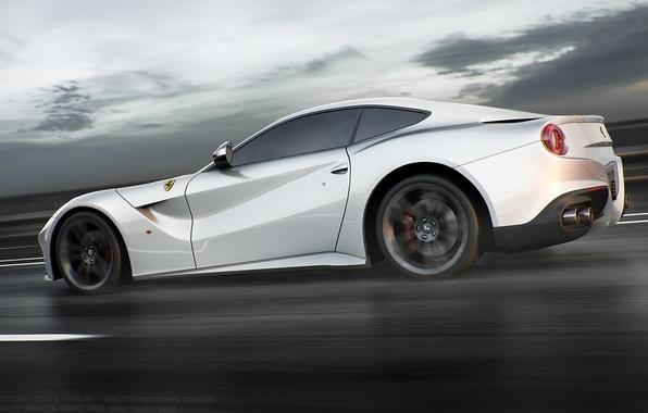 Картинка Ferrari, Speed, White, Road, Berlinetta, F12, Rear