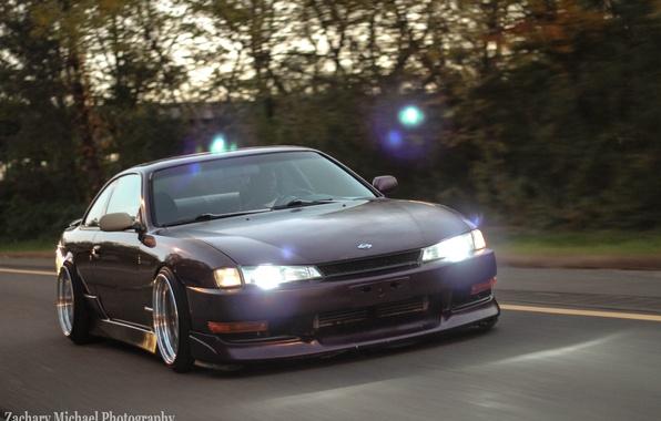 Картинка Silvia, Nissan, фиолетовая, purple, S14, JDM, Stance, Rigshot, Rolling