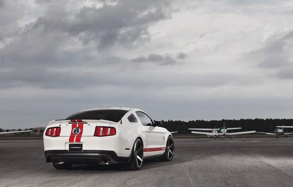 Картинка белый, самолет, Mustang, Ford, Shelby, мустанг, мускул кар, форд, muscle car, gt500, красные полосы