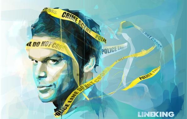 Картинка взгляд, лицо, арт, Dexter, сериал, живопись, желтая лента