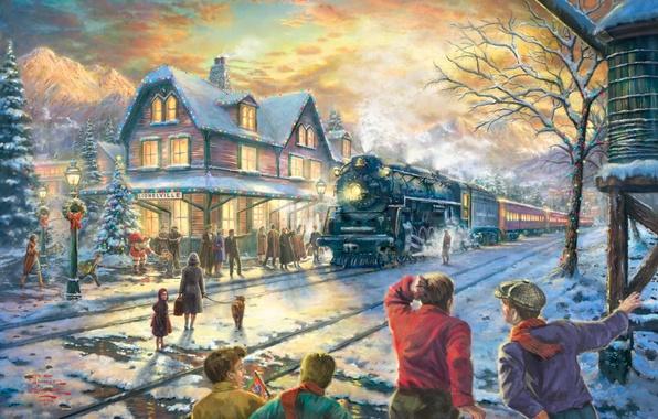 Картинка зима, снег, огни, дом, праздник, поезд, ель, станция, вечер, Рождество, железная дорога, Новый год, ёлка, …