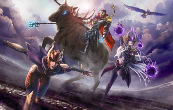 Картинка League of Legends, Shyvana, Syndra, Viktor, the Dark Sovereign, Half-Dragon, Machine Herald