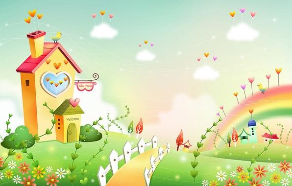 Картинка трава, облака, цветы, газон, птица, забор, дома, дорожка, сердечки, домик, детские обои