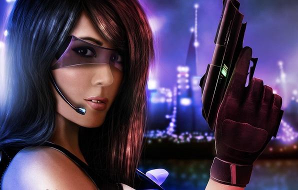 Картинка девушка, город, пистолет, оружие, арт, очки