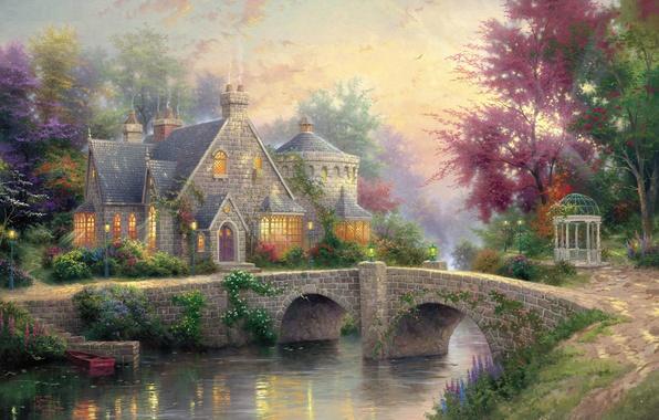 Картинка лето, мост, река, colorful, фонари, живопись, коттедж, беседка, river, bridge, art, усадьба, Томас Кинкейд, painting, …