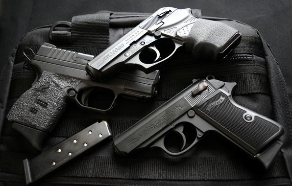 Картинка оружие, пистолеты, Springfield 9 mm, Walther PPKS 22, Bersa 380