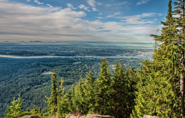 Картинка лес, деревья, горы, город, река, камни, Канада, панорама, вид сверху, North Vancouver