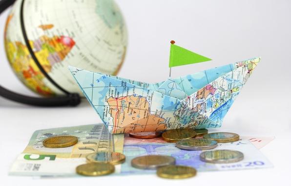 Картинка креатив, карта, деньги, позитив, размытость, монеты, кораблик, глобус, боке, композиция, бумажный, бумажные, travel, wallpaper., coins, …