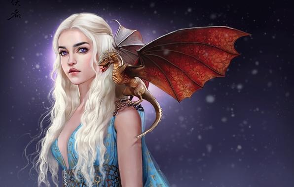 Картинка девушка, дракон, арт, белые волосы, A Song of Ice and Fire, Игра Престолов, Песнь Льда …