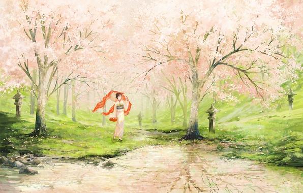 Картинка девушка, озеро, весна, сад, арт, яблони, нарисованный пейзаж