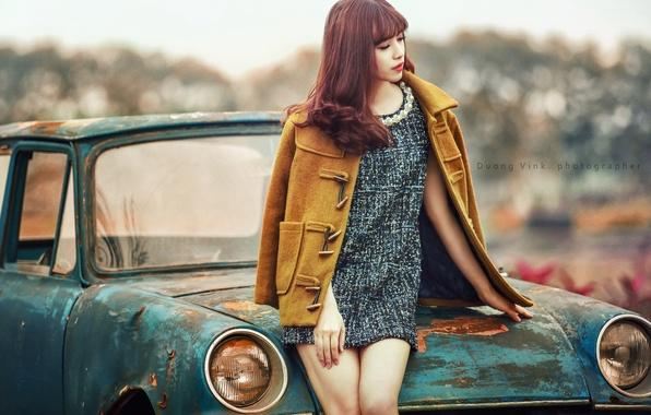 Картинка машина, девушка, поза, азиатка