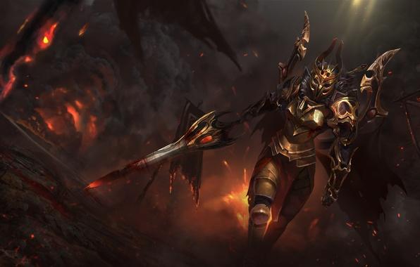 Картинка девушка, меч, шлем, броня, art, dota 2, legion commander, Tresdin, moba