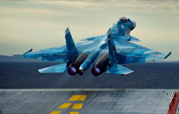 Картинка авианосец, взлёт, ОКБ Сухого, Су-33, ВМФ России, Flanker-D, российский палубный истребитель четвёртого поколения