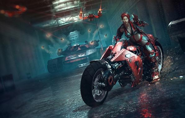 Картинка девушка, оружие, красное, арт, очки, искры, мотоцикл, танк, лазеры, тоннель, Catalin Obreja
