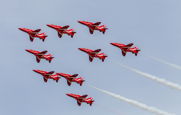 Картинка авиация, авиашоу, самолёты, Red Arrows