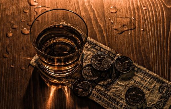Картинка доллар, алкоголь, стопка, монеты, запой