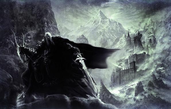 Картинка снег, горы, замок, меч, статуя, плащ, коза, warcraft 3, артес, костяная