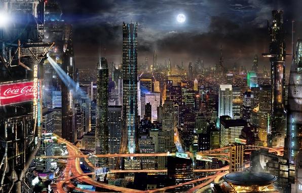 Картинка облака, ночь, город, будущее, фантастика, здания, Луна, реклама, future, City, fantasy, Coca-Cola, небоскрёбы, мегаполис, sci-fi, …