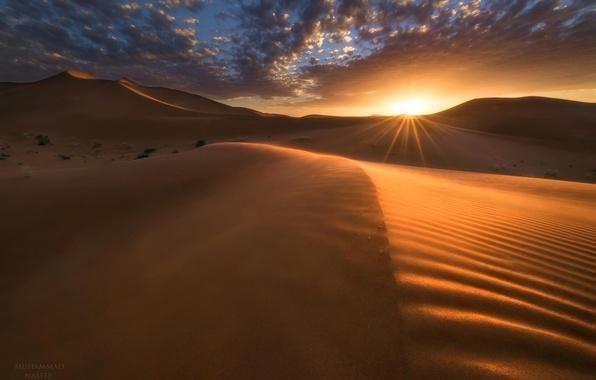 Картинка пейзаж, закат, пустыня, дюны