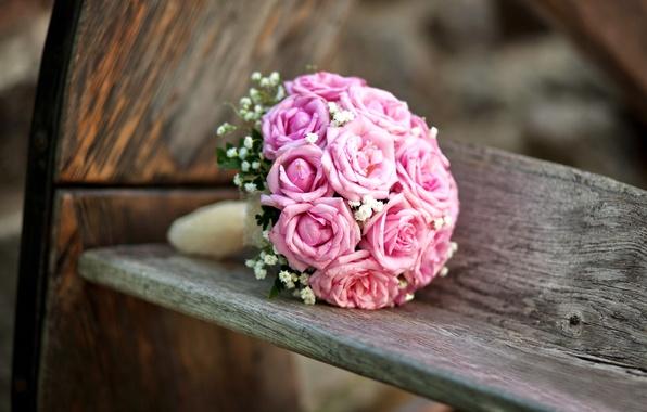 Картинка цветы, розы, букет, pink, свадьба, flowers, bouquet, roses, wedding