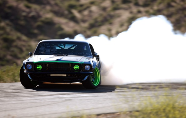 Картинка дым, занос, sport, дрифт, drift, форд, ford mustang