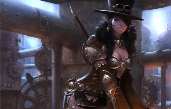 Картинка девушка, металл, трубы, эльф, шляпа, арт, очки, стимпанк, броня, steampunk, choi keun hoon