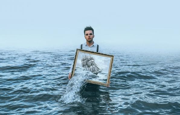 Картинка море, человек, корабль, картина