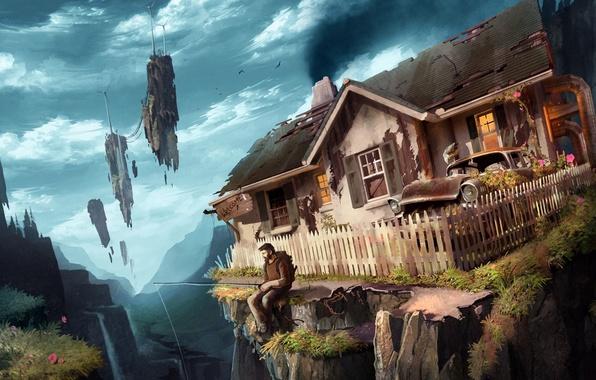 Арт мужик дом машина скалы летающие