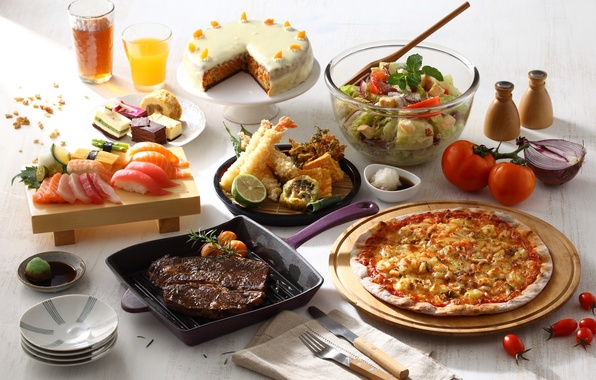 Картинка сок, торт, мясо, овощи, пицца, соус, суши, салат, блюда, ассорти